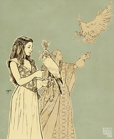 Margaery and Sansa hawking, a scene from the books that did not make it to the show.