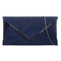 A Navy Clutch Bag Dark Blue Faux Suede Evening Bag Prom Shoulder Bag... ❤ liked on Polyvore featuring bags, handbags, evening handbags, blue evening bag, navy blue shoulder bag, navy purse and blue handbags
