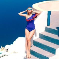Zhanna Bianca en un traje de ba�o de Lisa Marie Fernandez Swimsuits, Bikinis, Swimwear, Lisa, Russian Fashion, Vogue, Wetsuit, Beachwear, One Piece