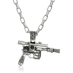 """Star Wars by Han Cholo Unisex HC Blaster Silver Pendant Necklace, 30"""" ($65) ❤ liked on Polyvore featuring jewelry, silver pendant necklace, han cholo jewelry, silver jewellery, pendant jewelry and silver necklace pendant"""