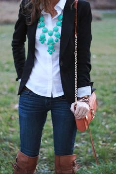 Dressier outfit idea- white button down, black blazer, jeans and brown boots. top with a statement necklace.