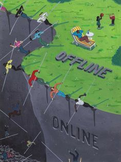 Illustrierte Social Media-Sucht - Digitale Gesellschaftskritik von Brecht Vandenbroucke https://www.langweiledich.net/illustrierte-social-media-sucht/