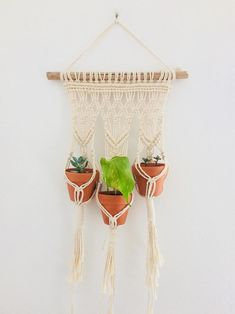 Large Macrame Wall Hanging, Macrame Plant Hangers, Dorm Plants, Railing Planters, Outdoor Plants, House Warming, Birthday Gifts, Crafty, Ropes