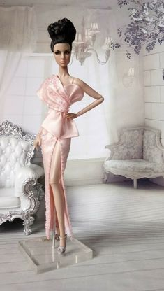 Amon Design Gown Outfit Dress for Fashion Royalty, FR, Barbie, Doll Barbie Gowns, Doll Clothes Barbie, Barbie Dress, Barbie Doll, Fashion Show Dresses, Dress Outfits, Fashion Outfits, Barbie Fashion Royalty, Fashion Dolls