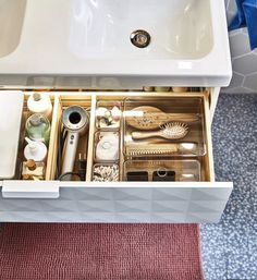 Bathroom Drawer Organization, Sink Organizer, Room Organization, Organize Bathroom Drawers, Organize Under Sink, Organized Bathroom, Led Cabinet Lighting, Strip Lighting, Bathroom Interior
