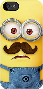 Funny Cute Despicable Me Minion With Google And Mustache - Apple iPhone 5, iphone 4 4s, iPhone 3Gs, iPod Touch 4g case
