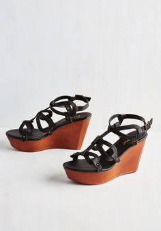 Discotheques and Balances Wedge. Strap into these bold black wedges and get ready to dance! #black #modcloth