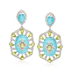"For a vibrant, exotic touch, slip on these blue agate and 6.70 ct. t.w. peridot drop earrings set in polished 18kt white gold. For more sparkle, 4.25 ct. t.w. diamonds outline the design, highlighting the brightly colored gemstones. Hanging length is 2 1/4"". Clip/post, multi-stone drop earrings. Free shipping & easy 30-day returns. Fabulous jewelry. Great prices. Since 1952."