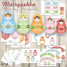 Matryoshka Birthday party printable - Russian nesting dolls - DIY Matryoshka décoration - Instant download printable pdf by PapierBonbon on Etsy https://www.etsy.com/listing/221040298/matryoshka-birthday-party-printable
