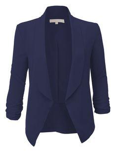 LE3NO Womens Lightweight Ruched 3/4 Sleeve Open Front Blazer Jacket Summer Blazer, Summer Jacket, Blue Tuxedo Jacket, Blue Tuxedos, Dinner Jacket, Lightweight Jacket, Black Blazers, Outerwear Jackets, Light Jacket