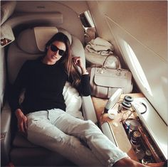 Alessandra Ambrosio in a private jet #famous #travel