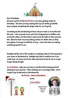 Great card from Santa to send to young children!