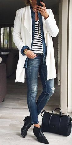 how to style a white cardi : striped top + denim shirt + jeans + bag + boots