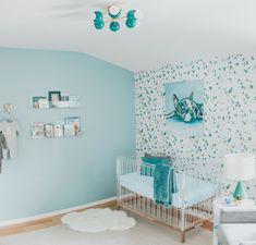 Modern flushmount ceiling light in a teal nursery with an acrylic crib and more. Teal Nursery, Baby Boy Nursery Decor, Nursery Modern, Nursery Neutral, Nursery Design, Modern Nurseries, Girl Nurseries, Nursery Ideas, Project Nursery