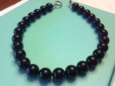 Tiffany Sterling and Onyx Bead Necklace Marked by SweetBettysBling, $575.00