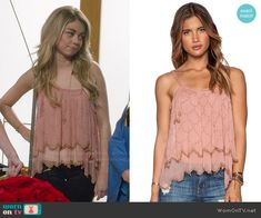 Haley's pink beaded top on Modern Family. Outfit Details: http://wornontv.net/49238/ #ModernFamily