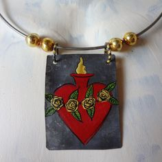 NEcK WIrE MEtAL MILAGRO FLaMING HEaRT RoSES LEAVeS by janazjunque, $36.00
