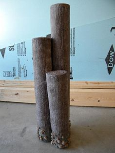 Faux Wooden Pilings - Made from PVC and liquid nails/monster mud mixture