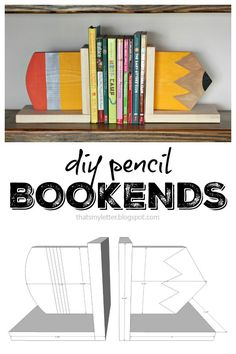 DIY pencil bookends with free plans are a fun and easy project to spruce up a bookshelf in your child's room or make a great gift for a teacher! Teacher Appreciation Gifts, Teacher Gifts, Wooden Crafts, Diy And Crafts, Easy Crafts, Woodworking For Kids, Woodworking Jobs, Woodworking Crafts, School Gifts