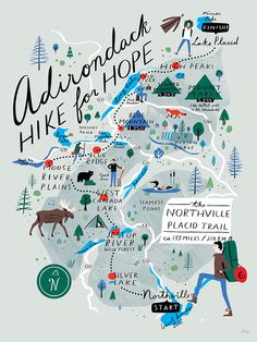 Illustrated map poster for the Adirondack Hike for Hope. The goal of this challenging journey is to raise funds for cancer research at Brigham and Women& Hospital. Travel Maps, Travel Posters, Map Posters, Map Projects, Journey Mapping, Travel Illustration, Map Design, City Maps, Lettering