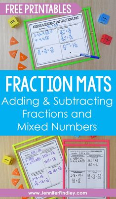 Fraction Mats: Adding and Subtracting Fractions and Mixed Numbers - Teaching with Jennifer Findley 4th Grade Fractions, Teaching Fractions, Fifth Grade Math, Teaching Math, Fourth Grade, Maths, Math Math, Guided Math, Teaching Ideas