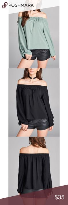 1 HOUR SALE! Dusty Sage Off Shoulder Top Style overload soft sheer solid top in super chic off shoulder design. Tie detailed longsleeves. Nothing is prettier than this elastic off shoulder neckline. A total must have. Hannah Beury Tops