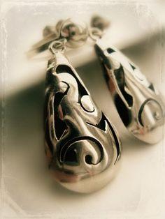 Sterling Silver Tear drop Earrings - Vintage Mexico