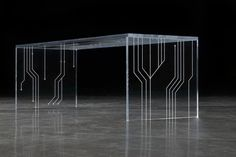 TRANSISTOR II design: barberini & gunnell Made in tempered extra-clear glass or acrylic glass (Plexiglas); the pattern of an electric circuit – the transistor – was achieved grinding (glass) or via laser (Plexiglas). home office Acrylic Furniture, Glass Furniture, Furniture Design, Interior Design Guide, Interior Design Inspiration, Electronic Circuit Design, Circuit Board Design, Cool Shapes, Acrylic Table