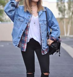 Oversized denim jacket. Flannel & white tee: