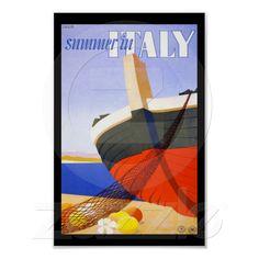 Verão no poster de viagens de Italia de Zazzle.com.br