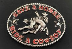 Belt Buckle Western Save A Horse Ride A Cowboy Funny Buckles Cowboy Images, Cowboy Belt Buckles, Le Far West, Mini Things, Western Belts, Cowboy And Cowgirl, Horse Riding, Hand Coloring, Westerns