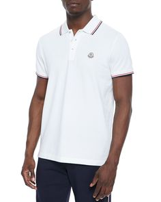 Moncler Twin-Tipped Short-Sleeve Polo, White Polo Fashion, Mens Fashion, Twin Tips, Moncler, Shirt Style, Twins, Polo Ralph Lauren, Polo Shirt, Sleeves