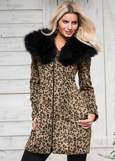 The coat we're going wild over this winter! Venus faux fur leopard coat with Venus basic leggings.