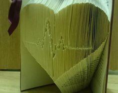 Book folding pattern for HEARTBEAT in a HEART