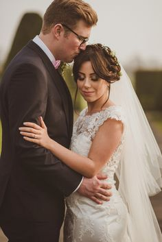 Bride and groom from a romantic and elegant country house spring time wedding. Photography by Alexa Penberthy.
