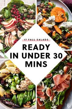 17 Fall Salads You Can Make in 30 Minutes or Less - Fall salad recipes - Fall Dinner Recipes, Fall Dessert Recipes, Fall Recipes, Cheap Recipes, Healthy Salad Recipes, Lunch Recipes, Vegetarian Recipes, Vegetarian Lunch, Healthy Dinners