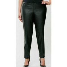 Lane Bryant Pants & Jumpsuits | Lane Bryant Black Front Faux Leather Pants 24 | Poshmark Faux Leather Pants, Lane Bryant, Pant Jumpsuit, Jumpsuits, Spandex, Skinny, Cotton, Things To Sell, Black