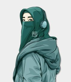 Lenka-Trouble is friend-Ska version Hijab Dp, Hijab Niqab, Muslim Hijab, Hijab Dress, Cute Cartoon Wallpapers, Cartoon Pics, Hijab Drawing, Niqab Fashion, Muslim Fashion