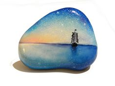 Painted stone sasso dipinto a mano. The Starry di OceanomareArt