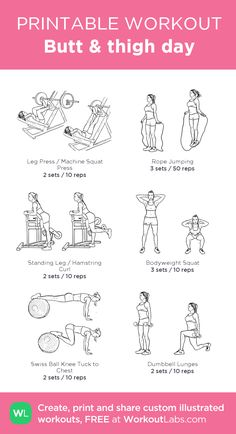 Butt & thigh day: my visual workout created at WorkoutLabs.com • Click through to customize and download as a FREE PDF! #customworkout