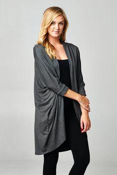 Cozy grey cardigan.