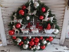VINTAGE OOAK HANDMADE CHRISTMAS HEIRLOOM SANTA SLEIGH & ALL HIS REINDEER WREATH #vintagechristmas