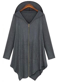 Chic Zipper Closure Long Sleeve Grey Hooded Coat
