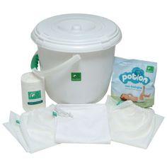 TotsBots - Set básico (papelera para pañales, 3 bolsas, 2 rollos de 100 protectores para pañal y detergente para pañales lavables)