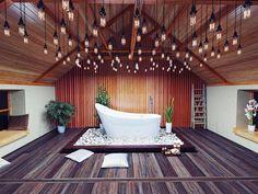 Stunning industrial lighting and reclaimed #wood #flooring.