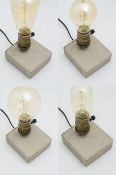 edison lamp XS#29 concrete lamp & XS#17 concrete wooden lamp. handmade. table…