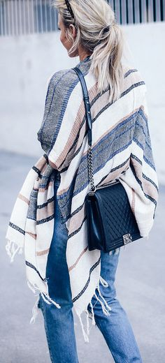 Try a lightweight poncho as a coverup on late summer, early fall days.