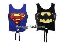 cd68b17da33ee LADIES WOMEN SUPERMAN   BATMAN PRINTED CROP TOP TIE T SHIRT VEST SIZE 8 10  12 14
