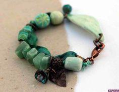 Green bracelet with ceramic beads, tyvek, aventurine and sari silk