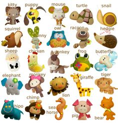 Felt Toys, this is just a picture not a link to a tutorial or anything but it has some adorable ideas for cute felt toys